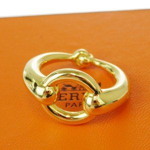 HERMES Logos OPEN CIRCLE Scarf Ring Gold-Tone Acce